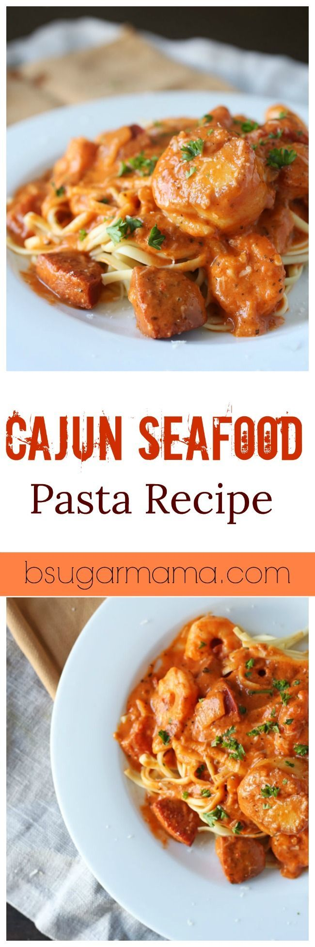 This Cajun Seafood Pasta Recipe is full of flavor and spice. Made with shrimp, spicy sausage, and sea scallops you will absolutely fall in love with this easy pasta recipe!