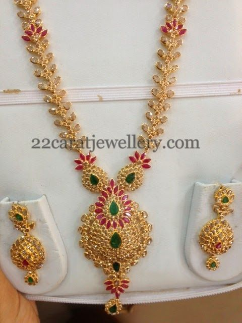 Jewellery Designs: Colorful Uncut Long Set 70Gms