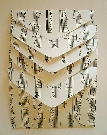 Upcycled Sheet Music DIY tutorial paper envelope pattern.  Could work with old book pages too.  So many different ideas on this site and you can good directions on these envelopes.  Just a really good site that thinks outside the box.  Printables of musics at the very end of the site.