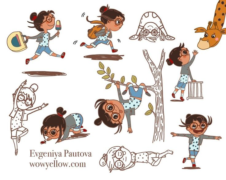 The week before I was experimenting with my character's movements. And it was a lot of fun. This week I needed to draw the double spread and it was soo damn hard. Mostly because I couldn'tpick just one scene from a book - I wanted to illustrate all of them and at the same time! But eventually I picked the scene in a park with a giraffe and Eleanor playing in the top of the trees. I will show you how it turns out soon.