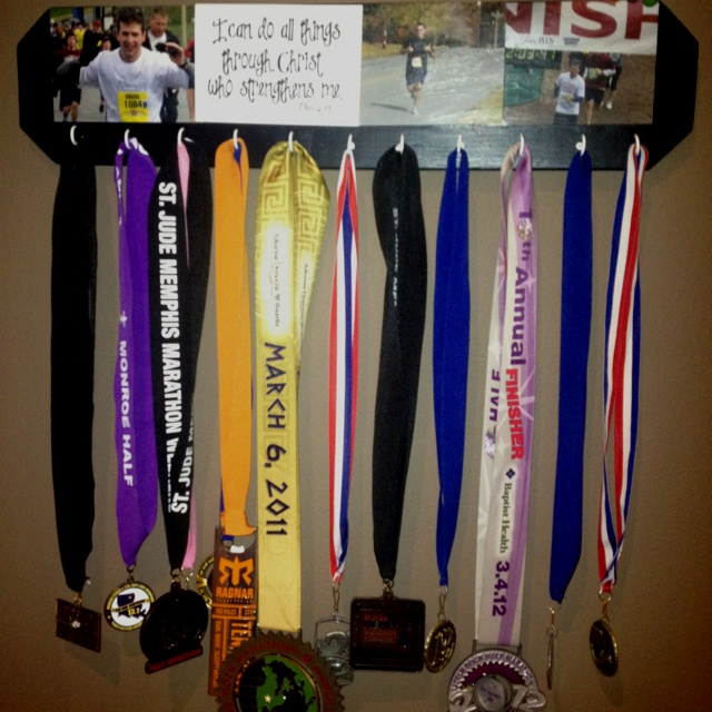 Display For Race Medals Just A Painted Board Mod Podge