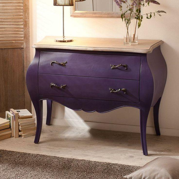 commode en bois 2 tiroirs coloris violet olivia maison facile d co. Black Bedroom Furniture Sets. Home Design Ideas