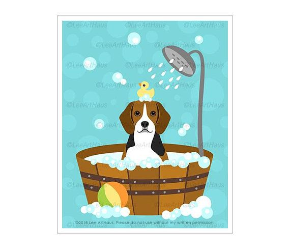 452d Dog Print Beagle Dog In Bubble Bath Wall Art Bathroom