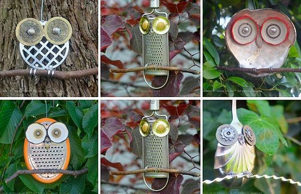 Owls using recycled materials use on school grounds for Recycled products ideas