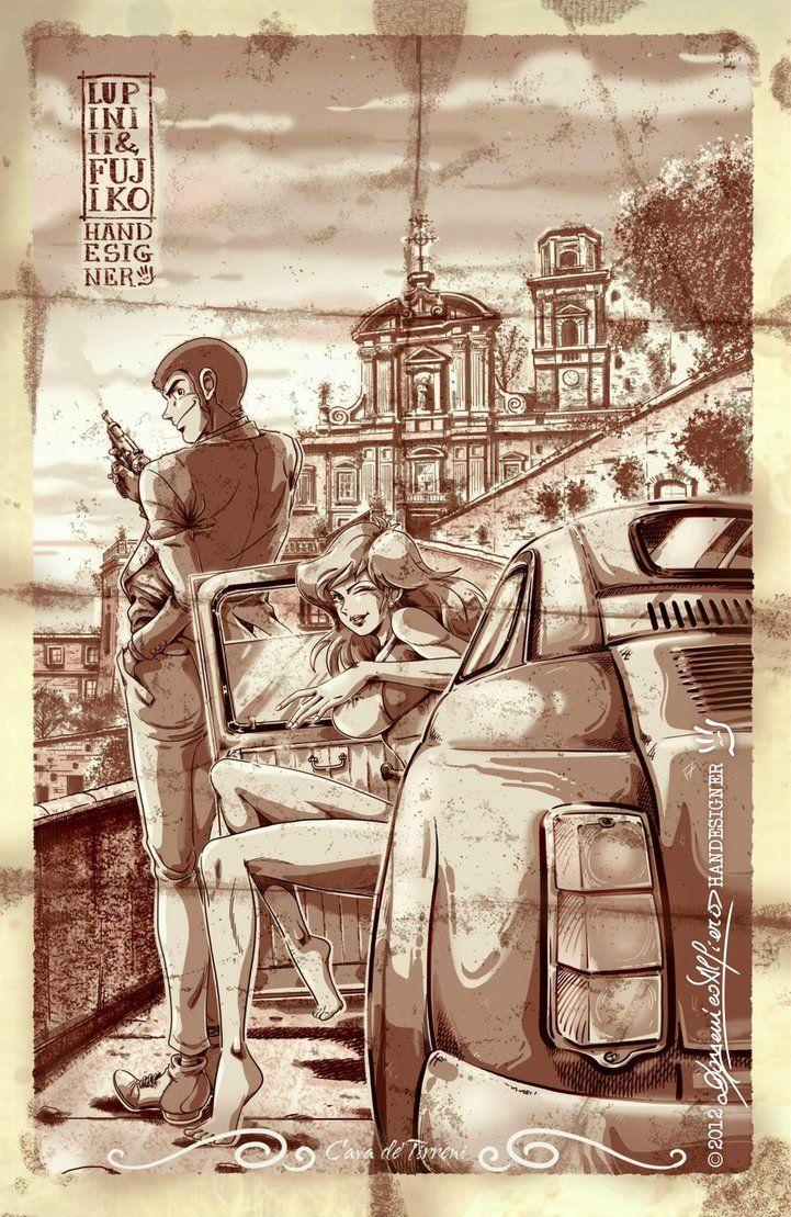 Lupin III and Fujiko Mine on Fiat 500 by handesigner