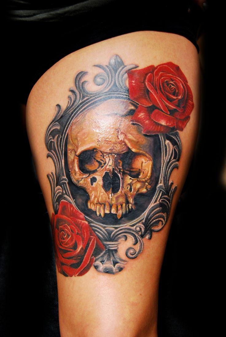 vintage frame, Victorian Frame, Skull, Rose, tattoo