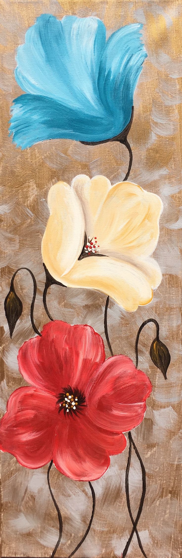 "Paint Colorful Poppies at Pinot's Palette. Change colors to match your home decor! 10"" x 30"" canvas. #diyhome #girlsnightout #homedecor #flowerpaintings #acrylicpainting"