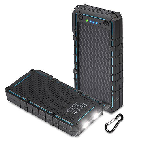 Hobest Solar Charger with Led Flashlight, Waterproof 12000mAh Solar Phone Charger with Dual USB, 2.1A Output Max Portable Phone Charger External Battery Pack Power Bank for Outdoors  https://topcellulardeals.com/product/hobest-solar-charger-with-led-flashlight-waterproof-12000mah-solar-phone-charger-with-dual-usb-2-1a-output-max-portable-phone-charger-external-battery-pack-power-bank-for-outdoors/  12000mAh high capacity with premium polymer cell supports about 4 times chargi
