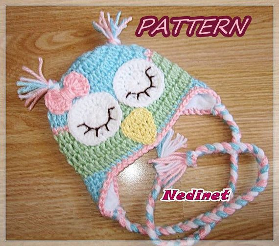 Rainbow Owl crochet hat PATTERN girl crochet by NedinetPattern