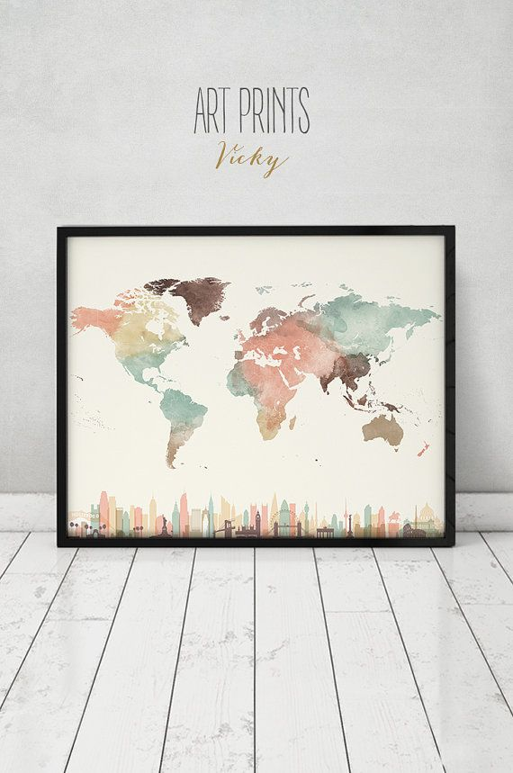 Travel Map with cities wall art Poster World map by ArtPrintsVicky