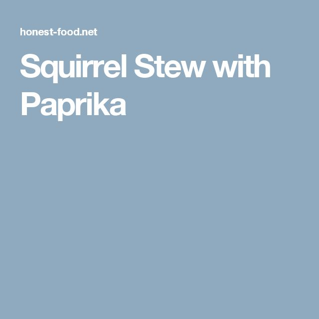 Squirrel Stew with Paprika
