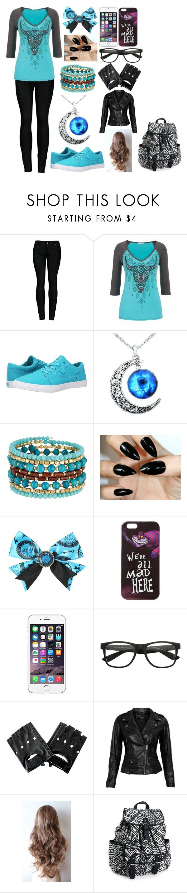 """Black and Blue"" by kiara-fleming ❤ liked on Polyvore featuring 2LUV, maurices, DC Shoes, Madison Parker, Disney, VIPARO and Aéropostale"
