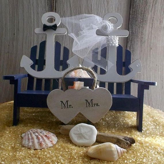 Nautical Wedding Cake Topper Anchor by MrandMrsCakeToppers