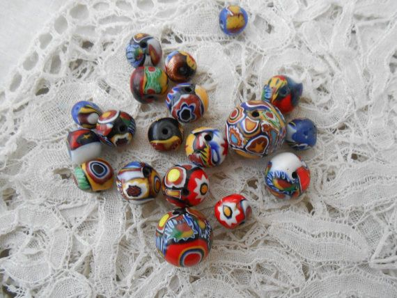 Old millefiori glass beads x 20