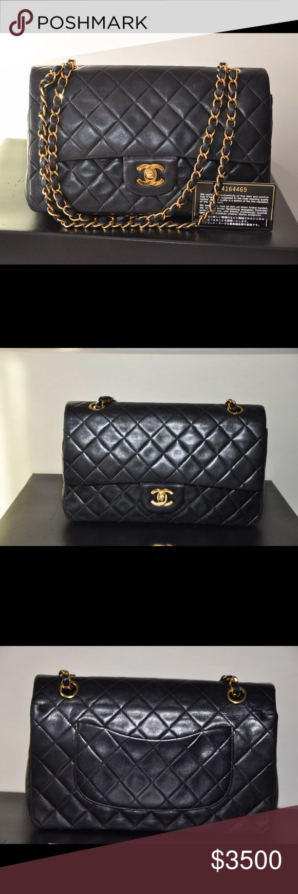 Chanel medium bag Chanel medium double flap bag in lambskin and gold hardware . Comes with card, dust bag and box. Cheaper if meet up NYC . CHANEL Bags Shoulder Bags