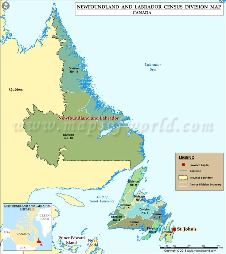 #Map of Newfoundland #Canada