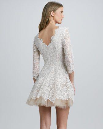 Nha Khanh Tulle-Skirt Lace Dress - Neiman Marcus