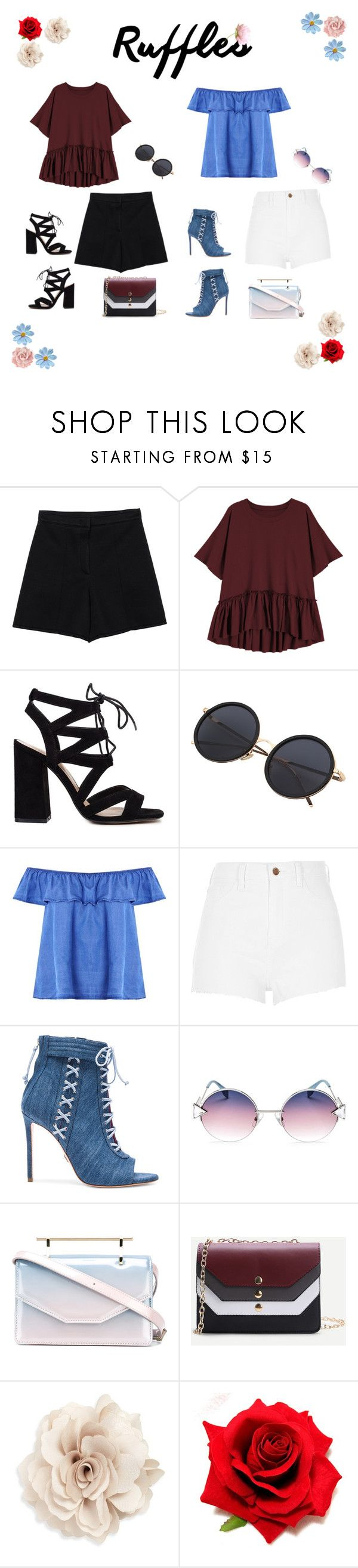 """""""Outfit with Ruffles Top"""" by sam-cruz8 ❤ liked on Polyvore featuring Sonia by Sonia Rykiel, Boohoo, River Island, Oscar Tiye, Fendi, M2Malletier, WithChic, Cara, GetTheLook and ruffles"""