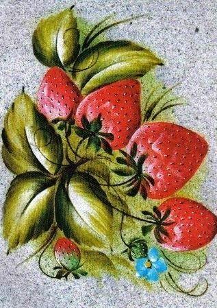 Manualidades y mas: Fresas y flores para pintar en tela