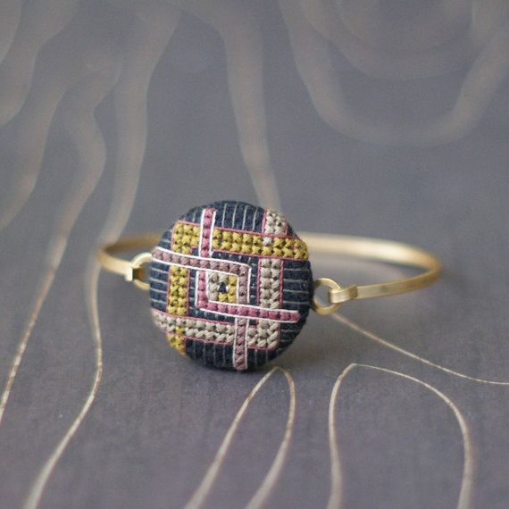 Modern Art Deco cross stitch bracelet diamond eggplant