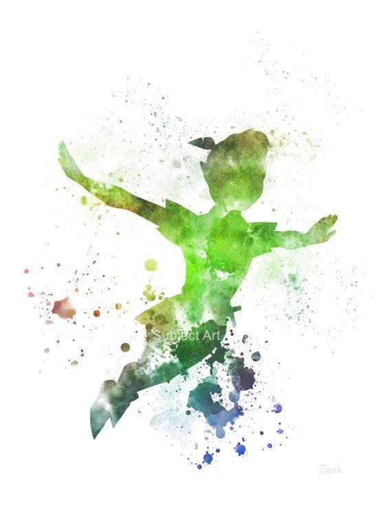 Ilustración de Peter Pan volando impresión del arte, arte de la pared, decoración del hogar, Disney, vivero