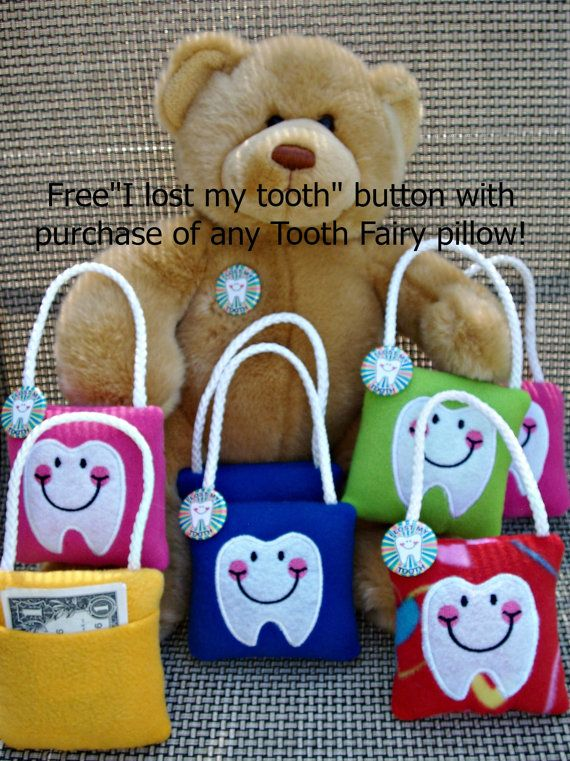 Tooth Fairy Pillow, plush,embroidered comes with Lost my Tooth button on Etsy, $8.50