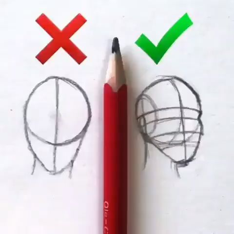 How to face, drawing skills, basic tricks, easy quick pencil sketching
