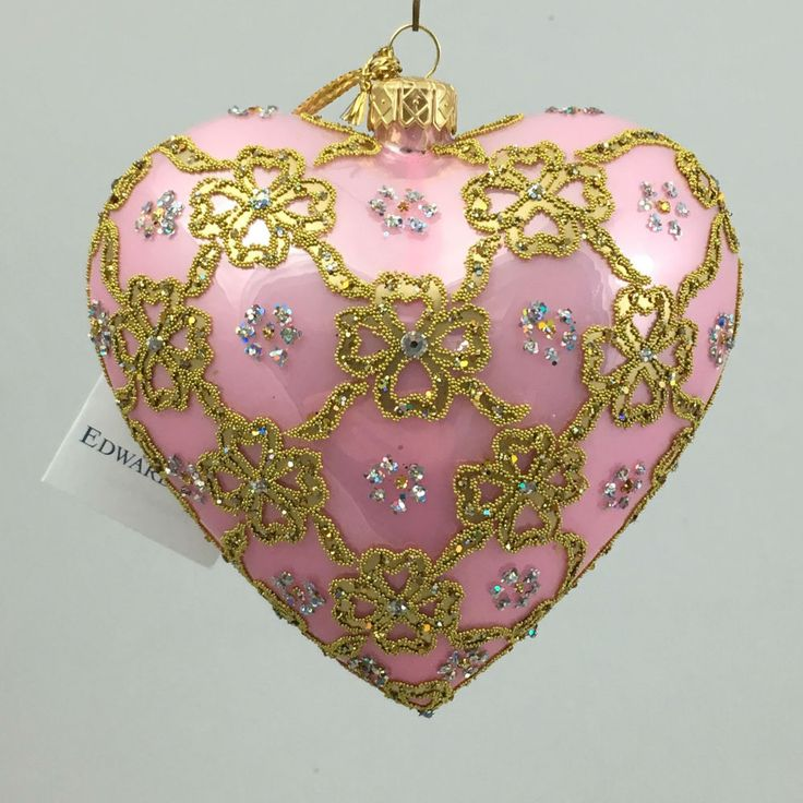 Valentine s Day HEART PINK RIBBON 4.72  glass ornament hand-made in Poland  | eBay