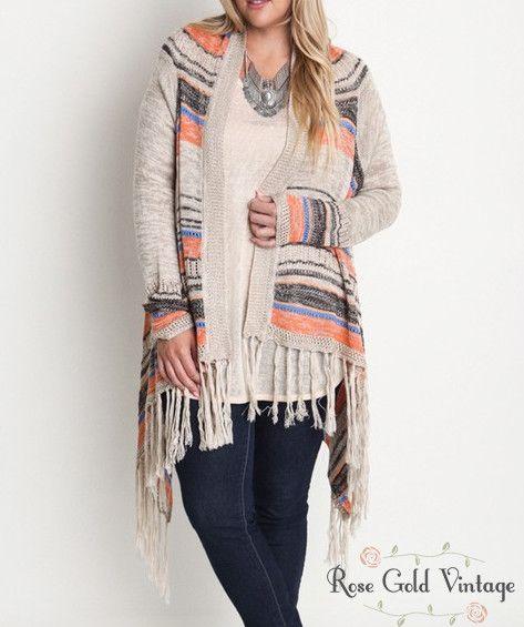 Fringe Cardigan Sweater - Tan