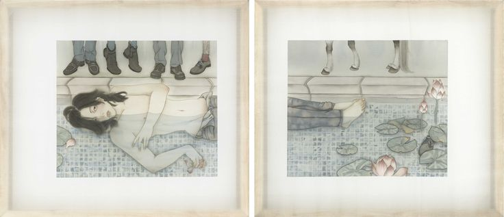 Tranquil (2013) by Wong Xiang Yi; Ink on Chinese silk; 60 x 90cm each; Artify Gallery
