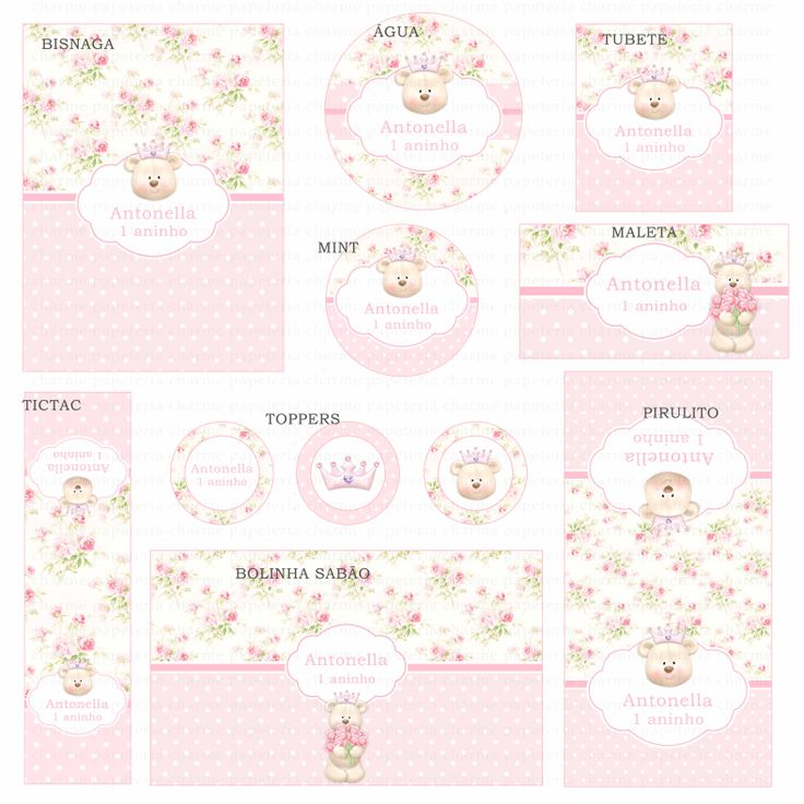Kit digital Charme Papeteria - Ursinha Princesa