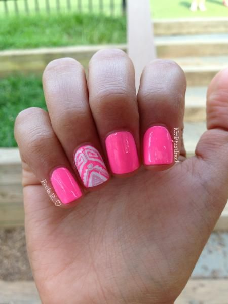 hot neon pink tribal accent nail art by instagrams just1nail bright nail polish - Hot Designs Nail Art Ideas
