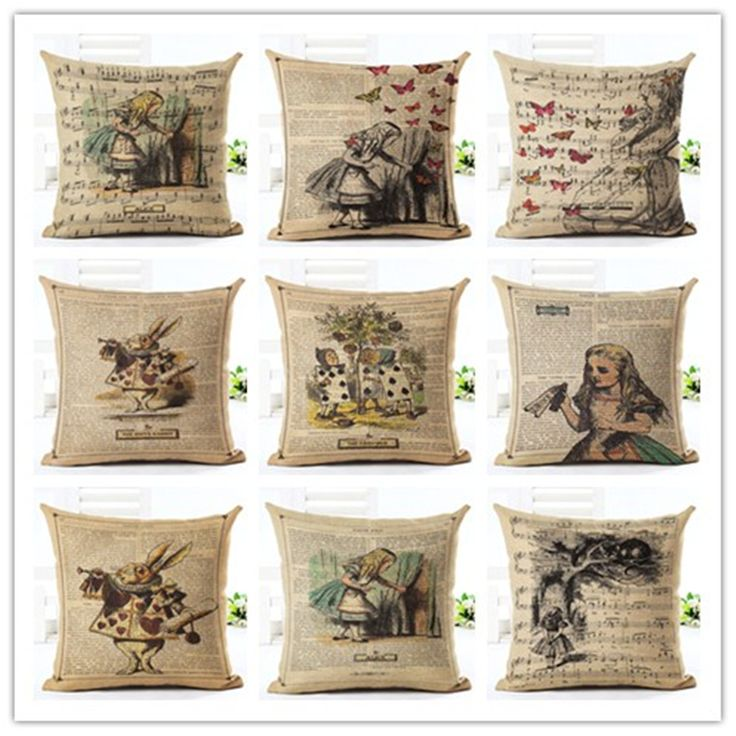 2016 New 45X45 High Quality Creative Retro Pictorial Soft Pillow Cojines Seat…