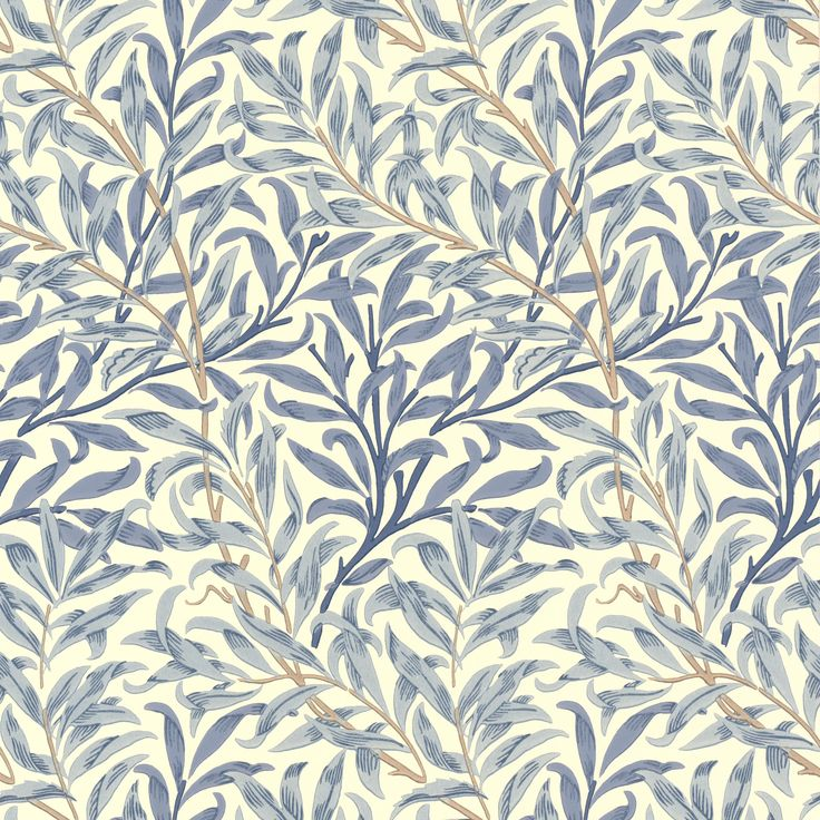 Wallpaper above the white beadboard. William Morris 'Willow Boughs' wallpaper by Morris & Co - blue & cream