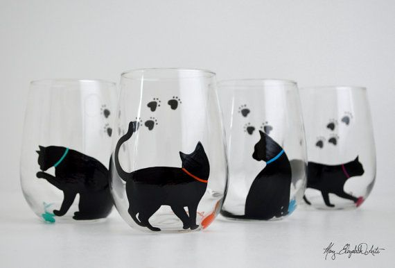 Cat and Yarn Stemless Wine Glasses. Hand painted. Available from Mary Elizabeth Arts.