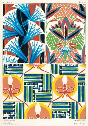 SEGUY, E. A. Suggestions pour Etoffes et Tapis. Plate no.20. Original pochoir lithograph for Suggestions pour Etoffes et Tapis, #Paris #1925 #pattern #design #textiles #colour #print