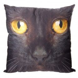Cuscino divano arredo casa letto tessuto gatto gattino micio nero
