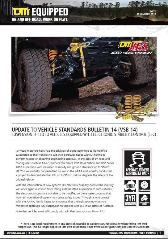 Unsure if our TJM Equipped XGS 4wd Suspension will effect your latest model 4wd with Electronic Stability control? Worry no more TJM combined with Australian Automotive Aftermarket Association have tested and are happy to announce that the legislation now permits fitment of approved TJM 4wd Suspension to vehicles with ESC. See image for further detail. ‪#‎tjmproducts‬ ‪#‎getequipped‬