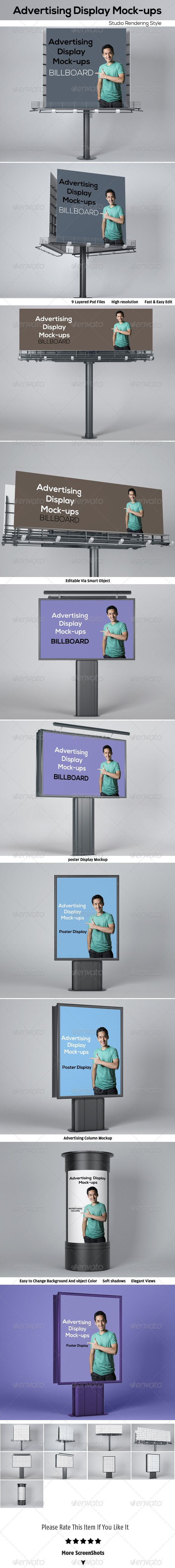 Advertising Display Mock-ups  #GraphicRiver        Advertising Display Mock-ups Features  9 PSD Files   High résolution / 2800×1800px / 300 Dpi