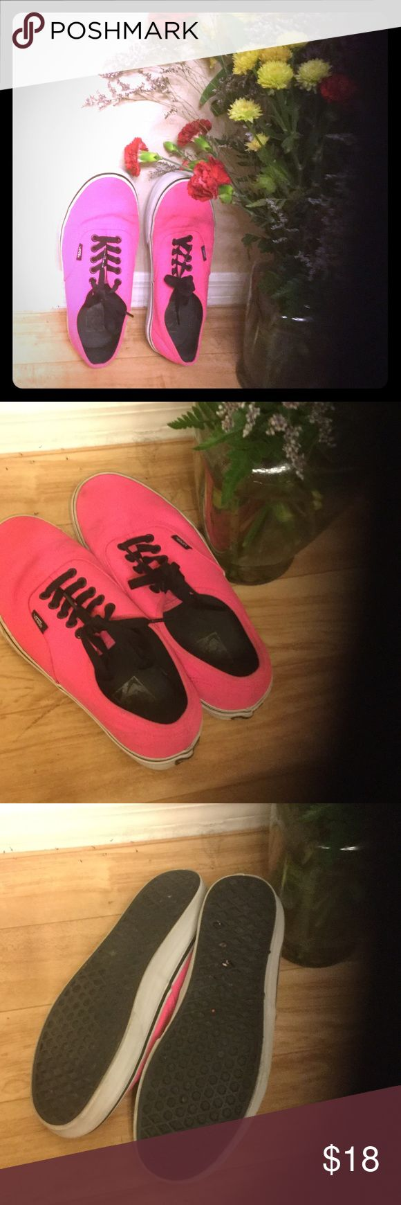 GUC pink neon vans black laces Pink neon vans black laces 9.5 women's I like to go up half a size to wear with socks. These are recently washed and ready for a cool new owner! Classic original skate shoes! No trades. Vans Shoes