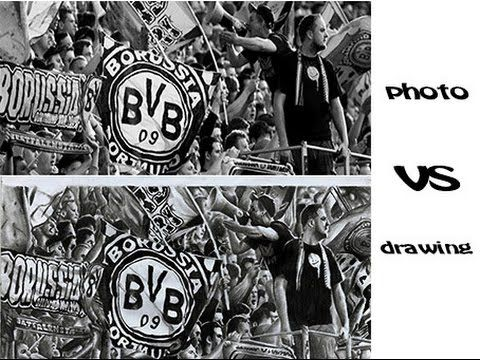Borussia Dortmund fans ( detailed pencil drawing ) - YouTube