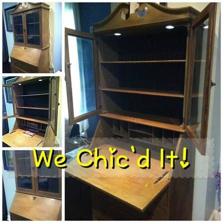 Shabby Chic Antique Secretary Desk w/Built-In LED Lights by WeChicdIt on Etsy https://www.etsy.com/listing/202238790/shabby-chic-antique-secretary-desk