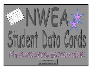 Buy once and it's updated every year! Use Student Data Cards before your students take their NWEA test to motivate them and help them reach their target!