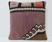 purple pillow cover 18x18 pillow brown pillow case aztec pillow case outdoor cushion large sofa pillow cover purple kilim pillow sham 18013