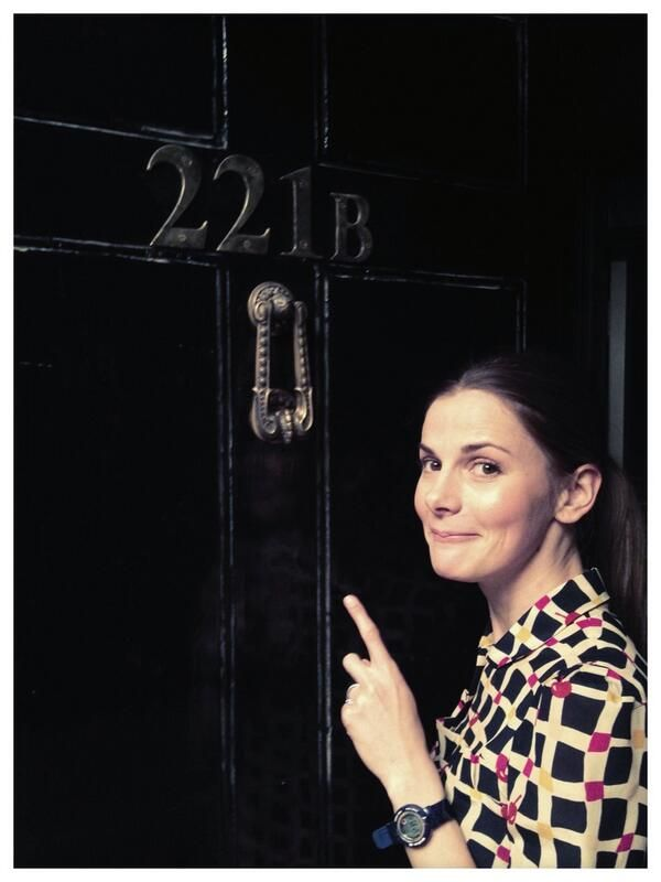 "Louise Brealey ""And here's me at the front door. Helpfully, I'm pointing out the number."""
