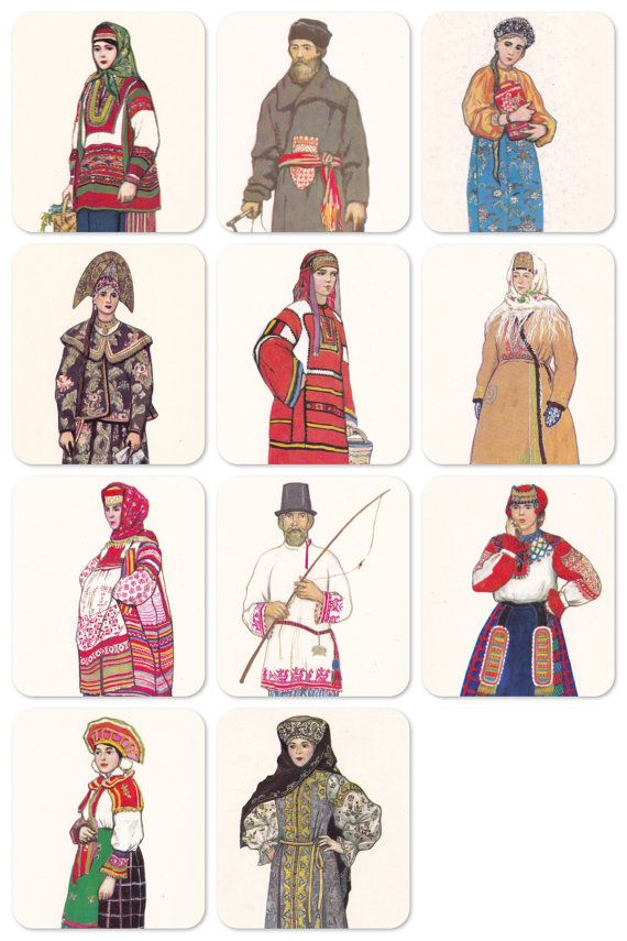 Russian Folk Costume Dress. Drawings by by RussianSoulVintage