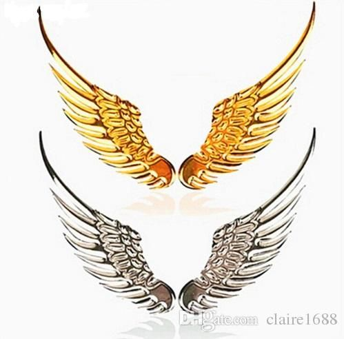 1 Pair Car Styling Fashion Metal Stickers 3D Wings Car Sticker Car Motorcycle Accessories Gold/silver - $4.99