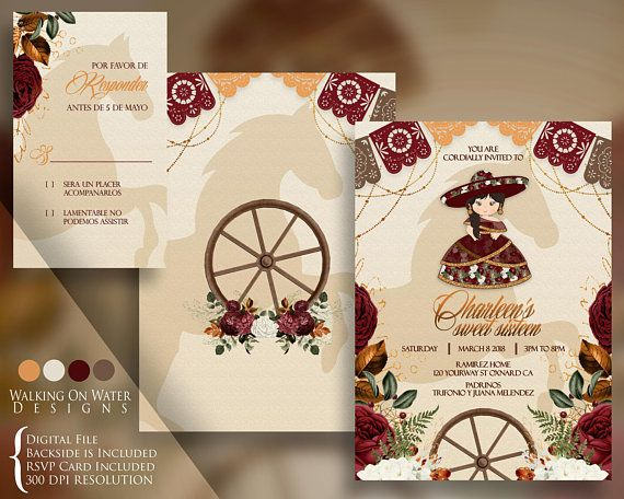 15 Anos Dresses From Mexico: Charro Sweet Sixteen, Quinceanera Invitation, Rustic