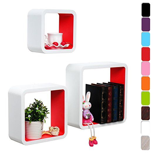 Woltu #295 Cube wall floating mount shelf for decoration and storage in the children's room, bathroom, offices, modern living room and bedroom (White/Red)