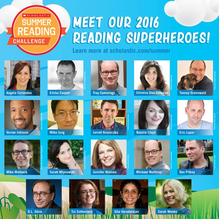 """What do these 19 authors have in common? They've each written a fill-in-the-blank story about how they became """"reading superheroes""""! Each week, a new story will be unlocked on the Summer Reading Challenge website! Click through to view them. #summerreading"""